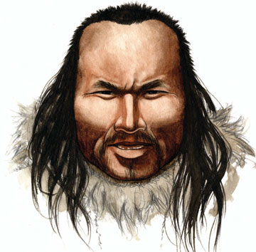 An artist's impression of the iceman: a Danish-led team of researchers has used remains found in permafrost at Qeqertasussuk, Greenland, in 1986, to study aspects of the Saqqaq culture.